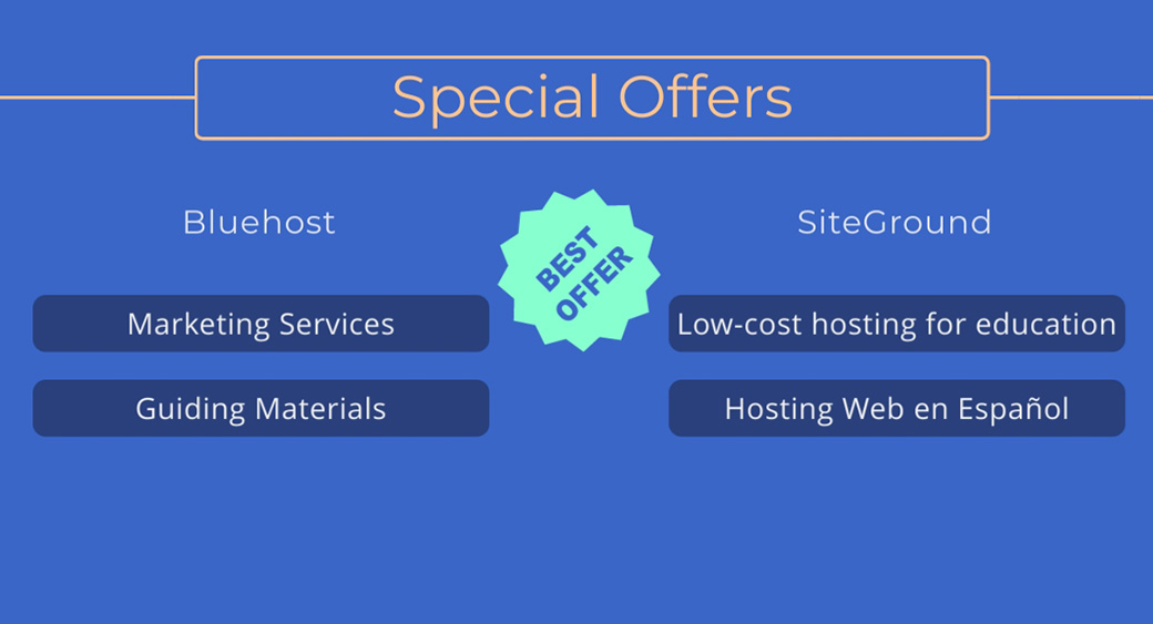 Bluehost vs SiteGround - special offers