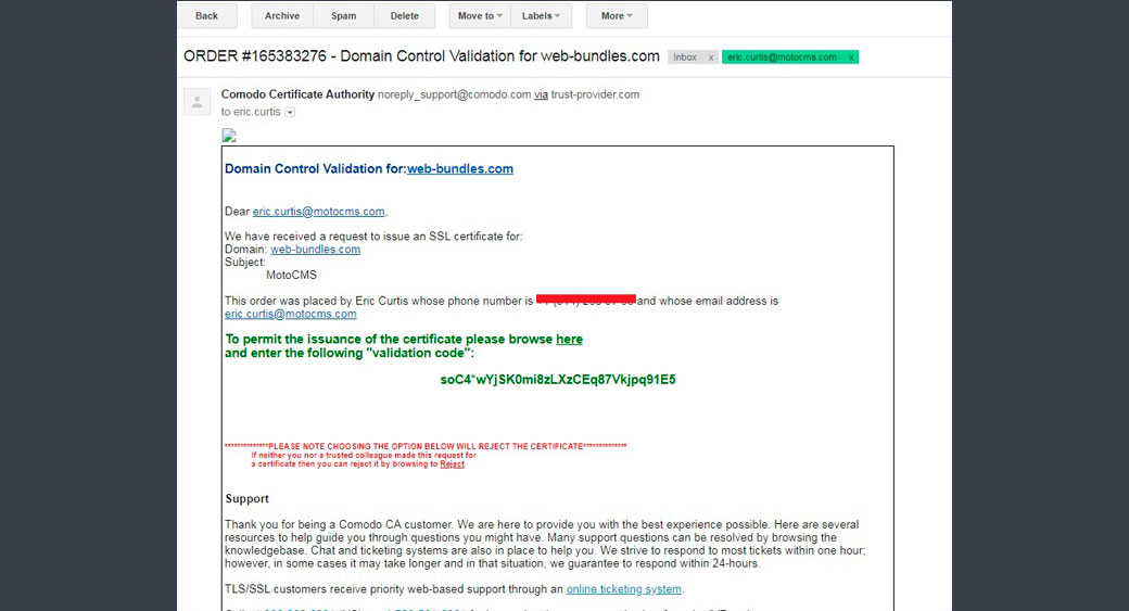 SSL email notification