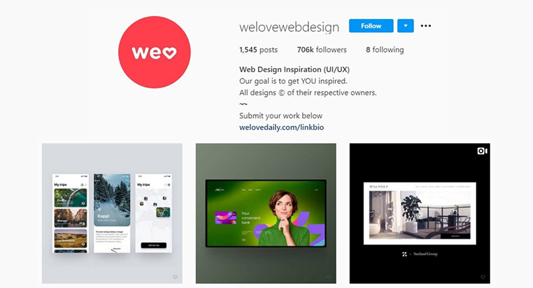Instagram account on web design inspiration