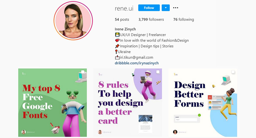 UX/UI designer account on Instagram
