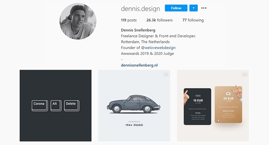 Instagram web design and fron-end development