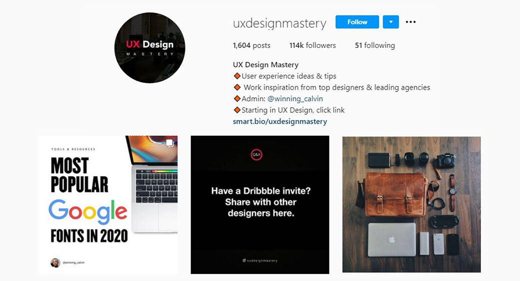 UX design mastery Instagram account