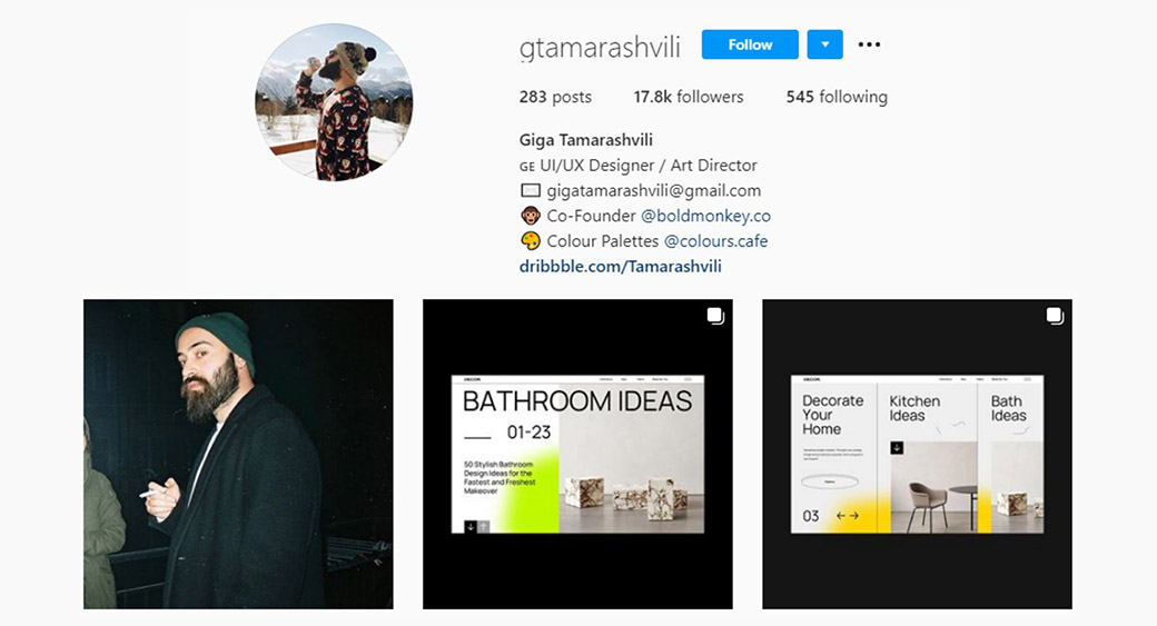 Instagram web design and traveling account