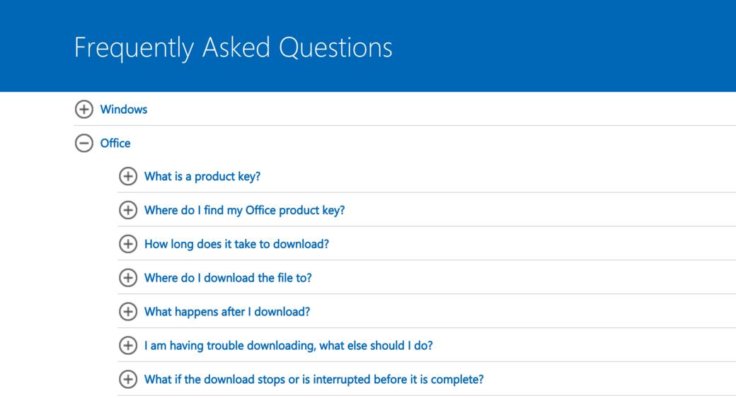 Microsoft FAQ page