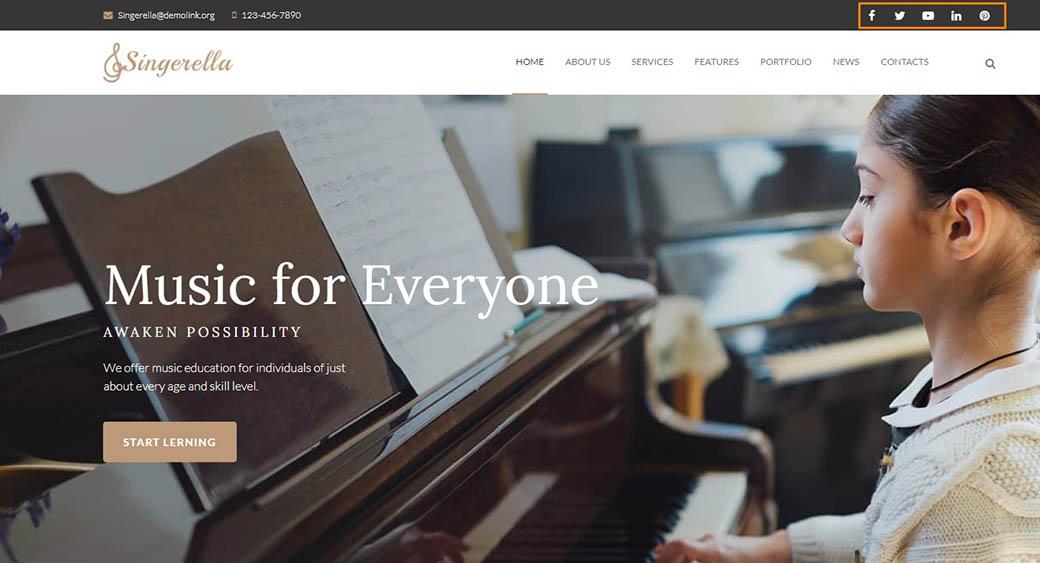 social media integration in the website design