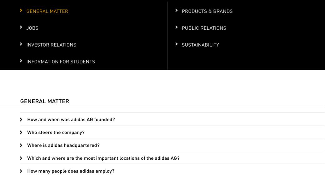 Adidas FAQ page