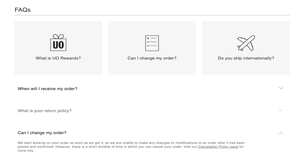 FAQ page design of Urban Outfitters