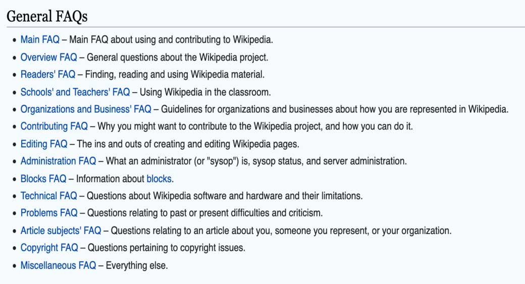 FAQ page of Wikipedia
