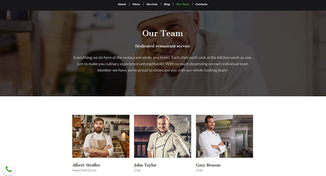 information about the restaurant team