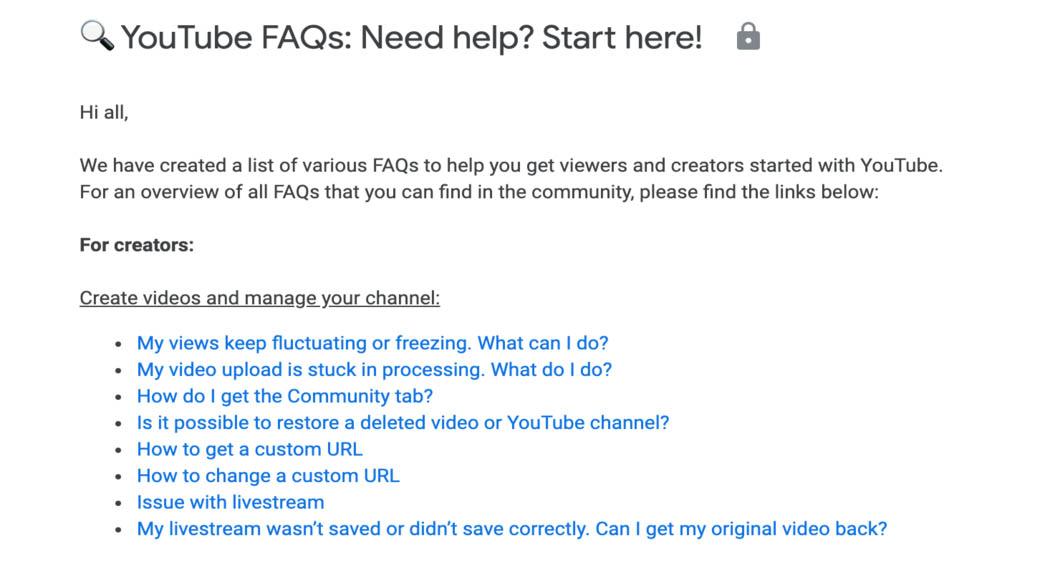 YouTube FAQ page