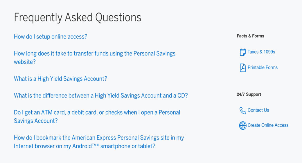 FAQ page design of the American Express website