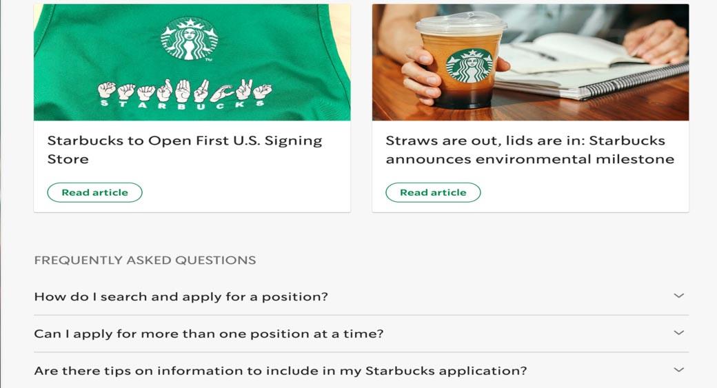 Starbucks FAQ page design