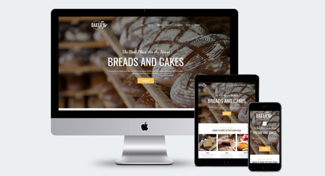 a restaurant template with responsive design