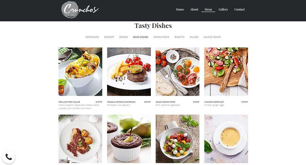 creating a menu on a restaurant website