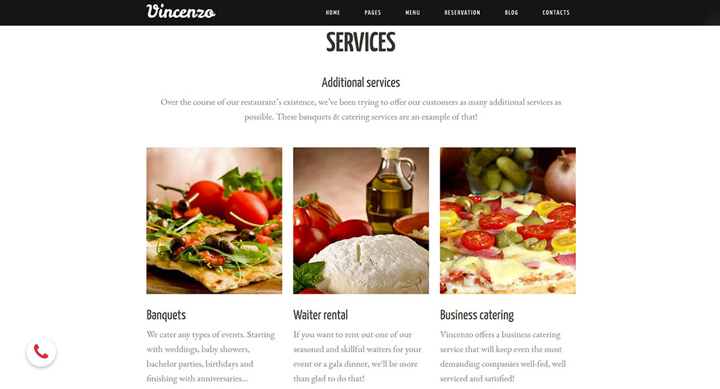 showing restaurant's services