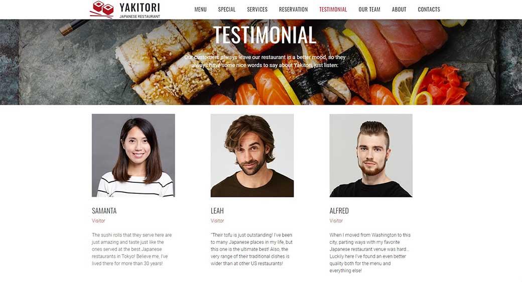 testimonials as a part of restaurant website design