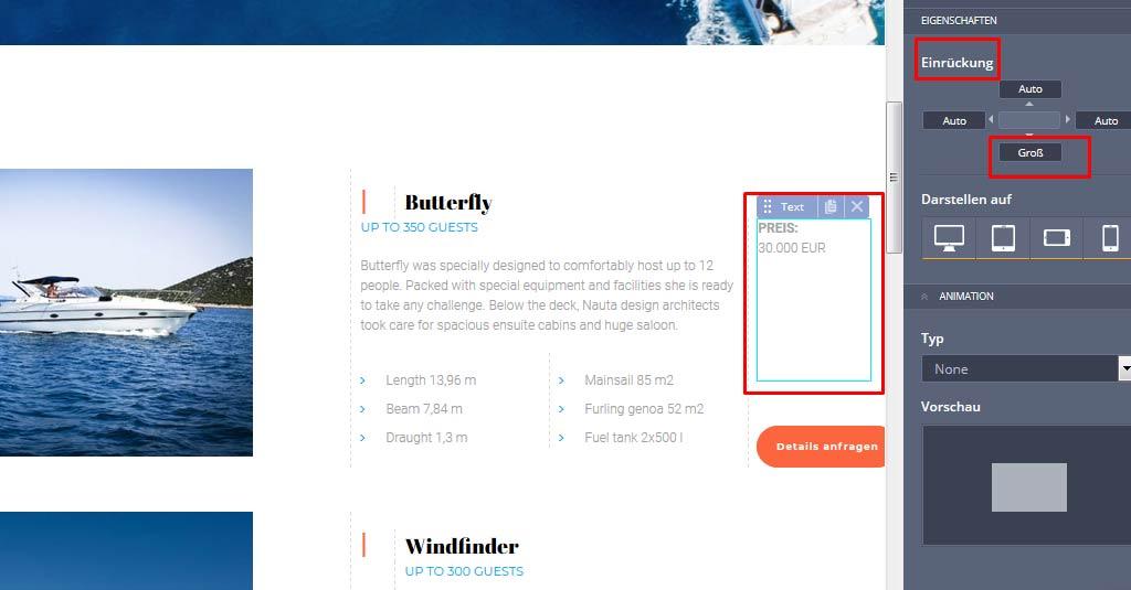 yacht website button erstellen