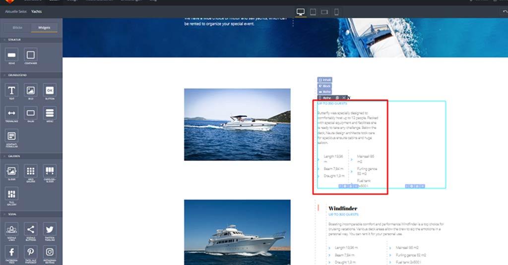 yacht website template button hinzufuegen