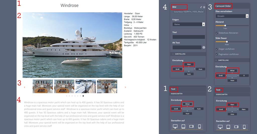 yacht website template neue seite erstellen