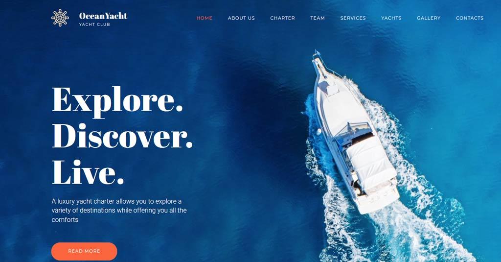 yacht website template motocms