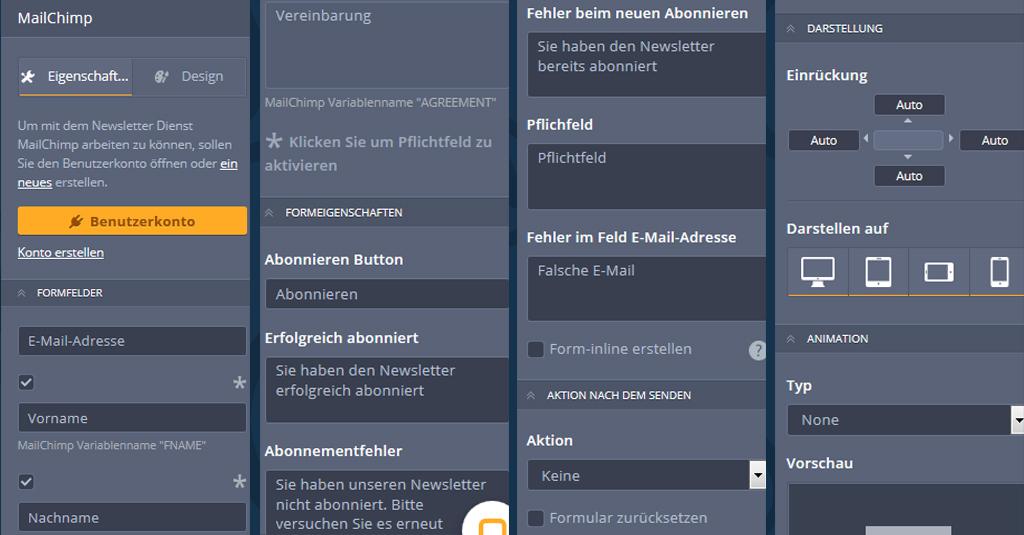 3 e mail kampagne mailchimp widget eigenschaften