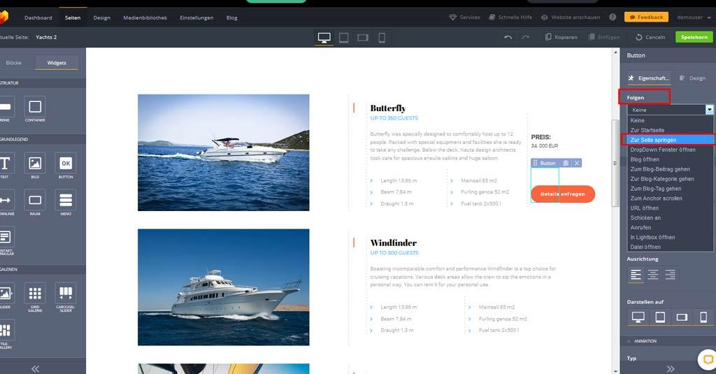 yacht website button einstellungen