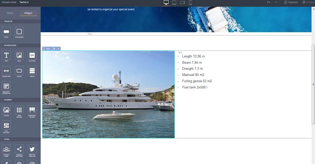 yacht website motocmsvorlage neue seite umsetzen