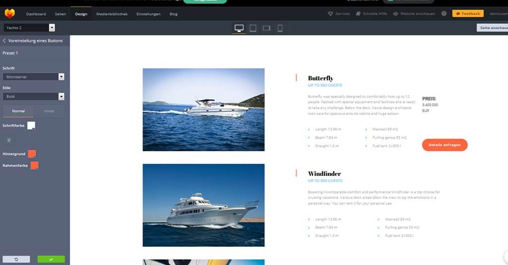 yacht website template button design anpassen