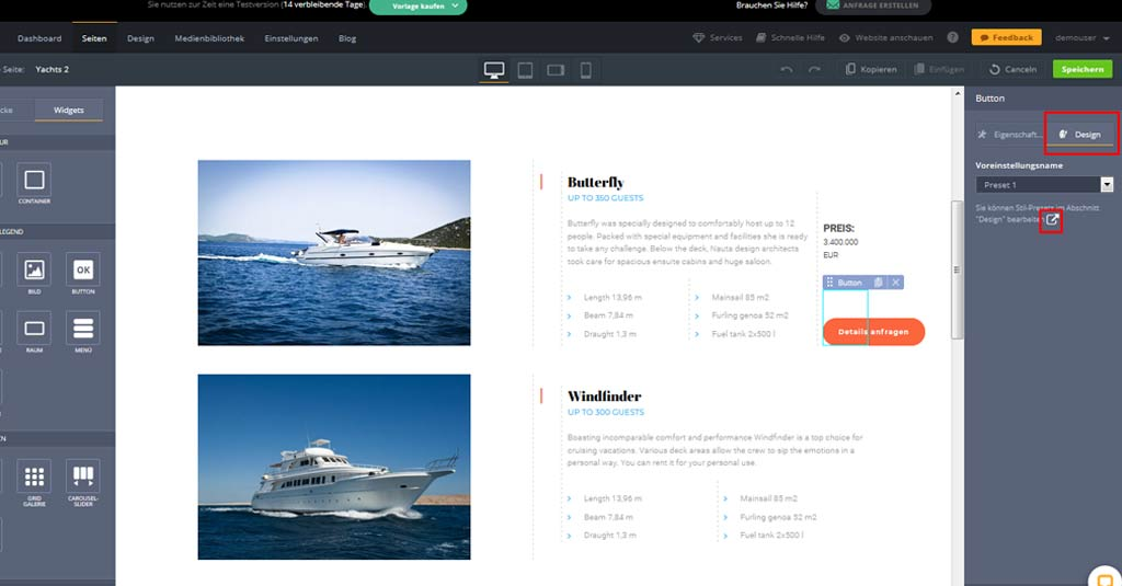 yacht website template button design bearbeiten