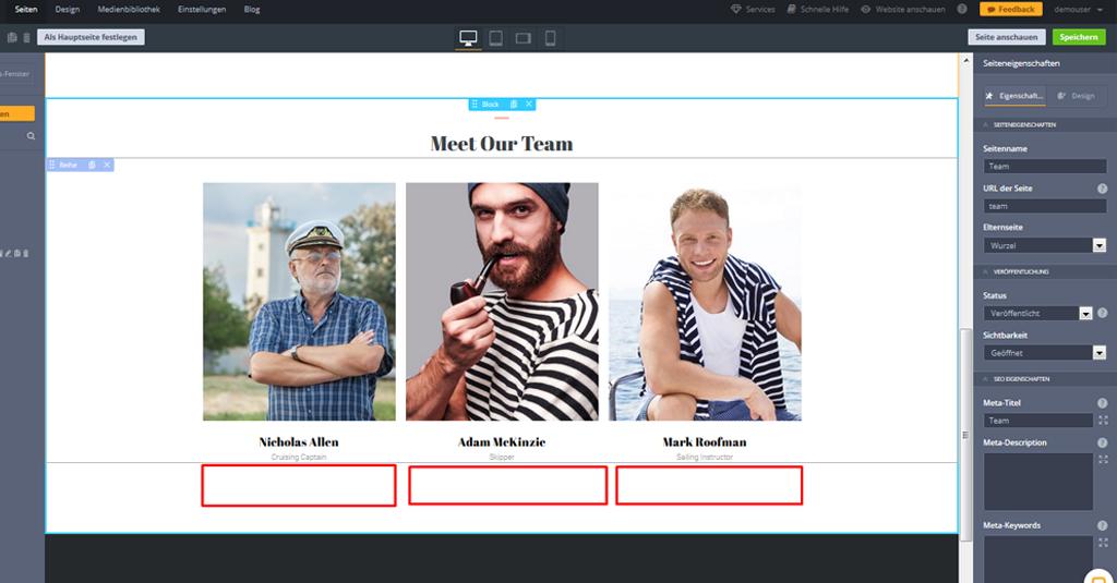 yacht website template unser team