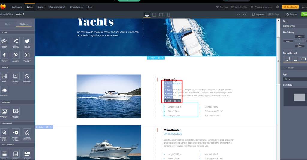 yacht website widgets 2
