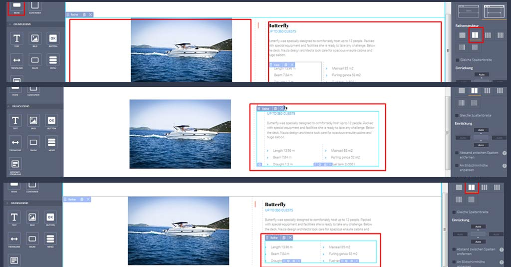 yacht website template widgets