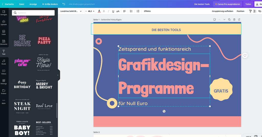 online Grafikdesign programme gratis Canva