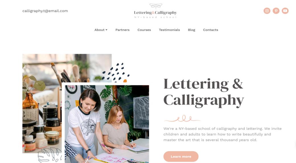 lettering website design