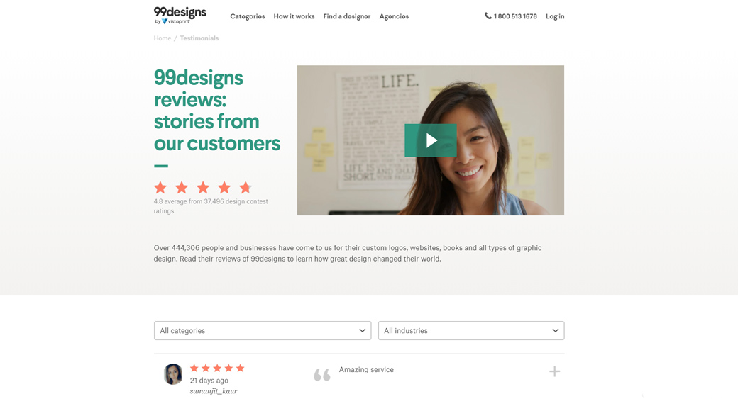 99Designs Reviews Page