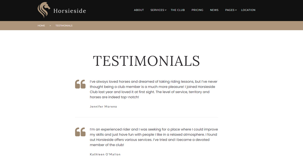 Attractive Testimonials Page