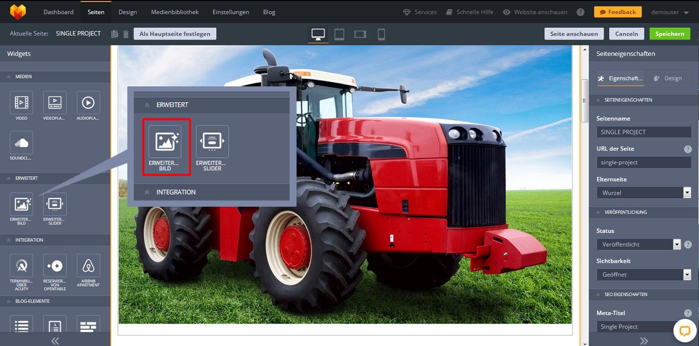 Website Widgets erweitertes Bild