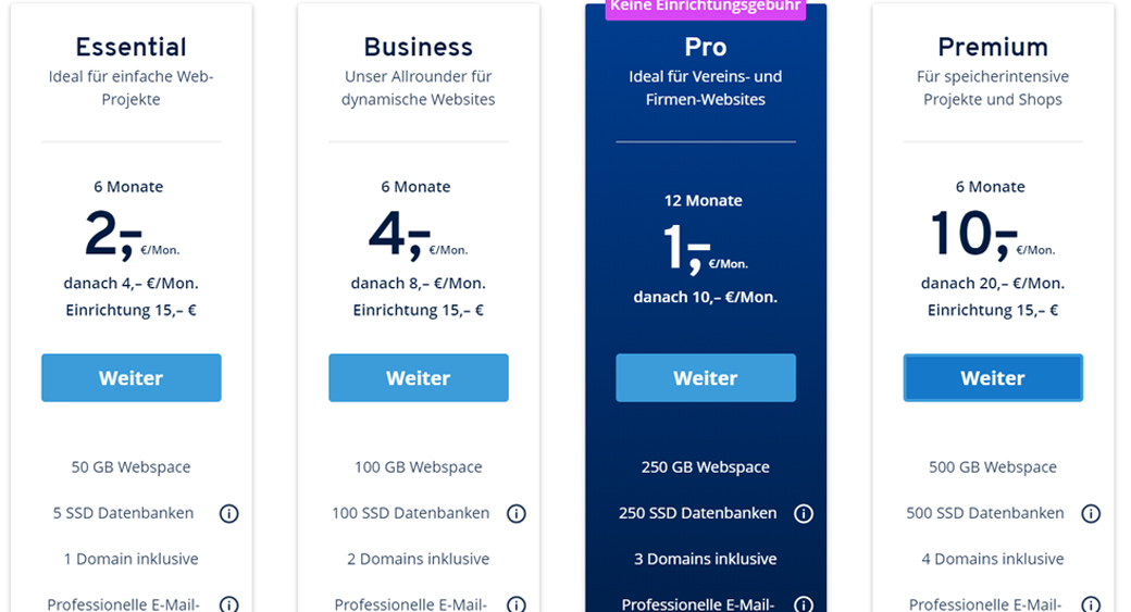 Webhosting Anbieter ionos