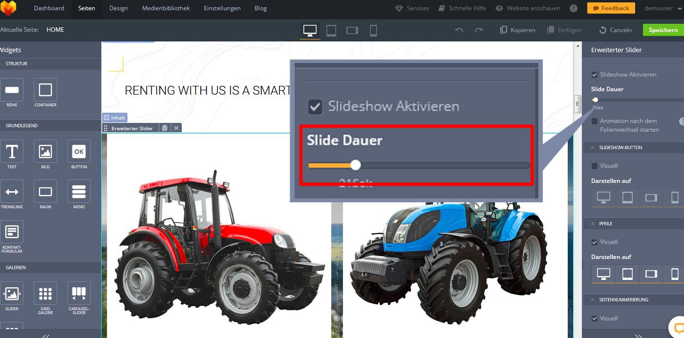 website widgets erweiterter slider dauer