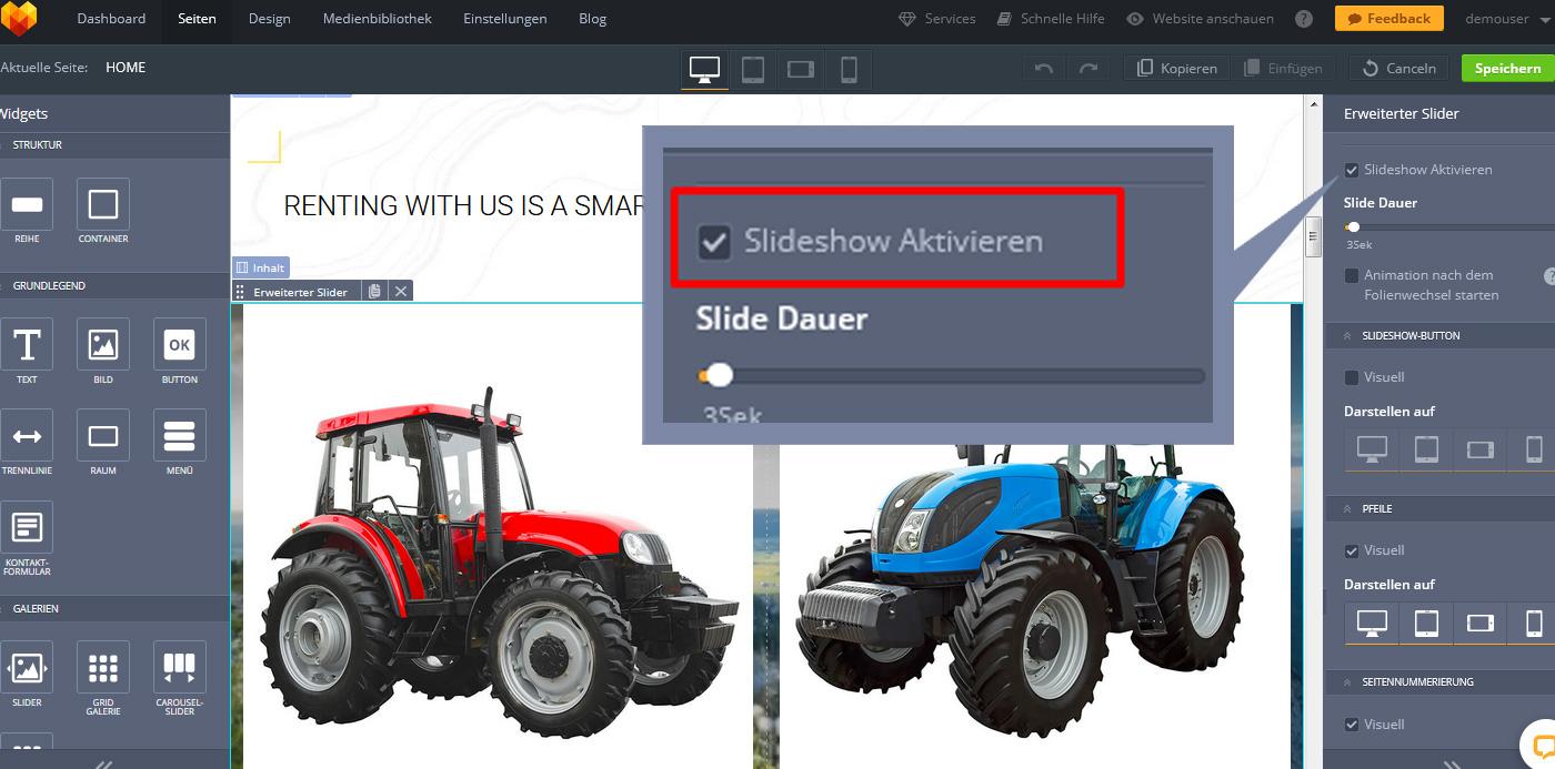 website widgets erweiterter slider slideshow