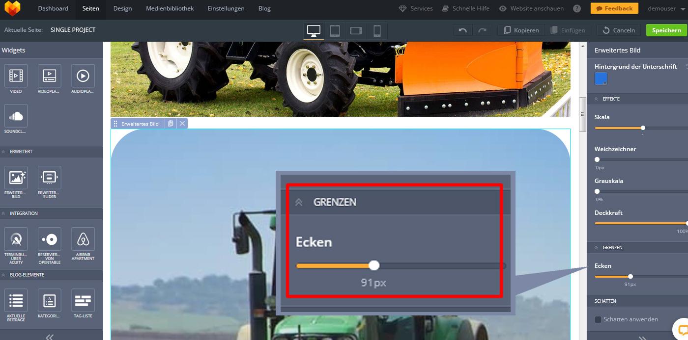 website widgets advanced bild design einstellungen