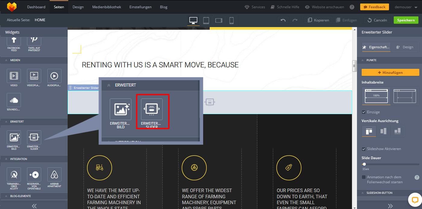 website widgets advanced slider