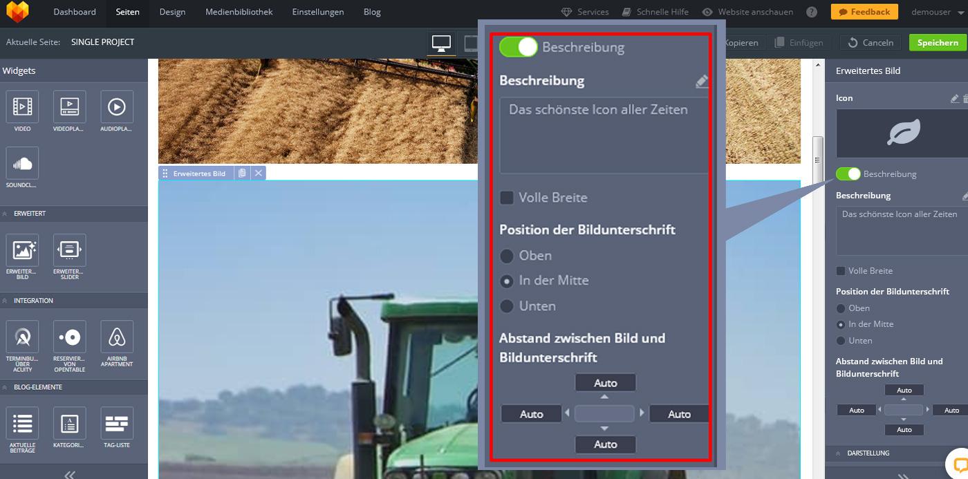 website widgets advanced bild beschreibung