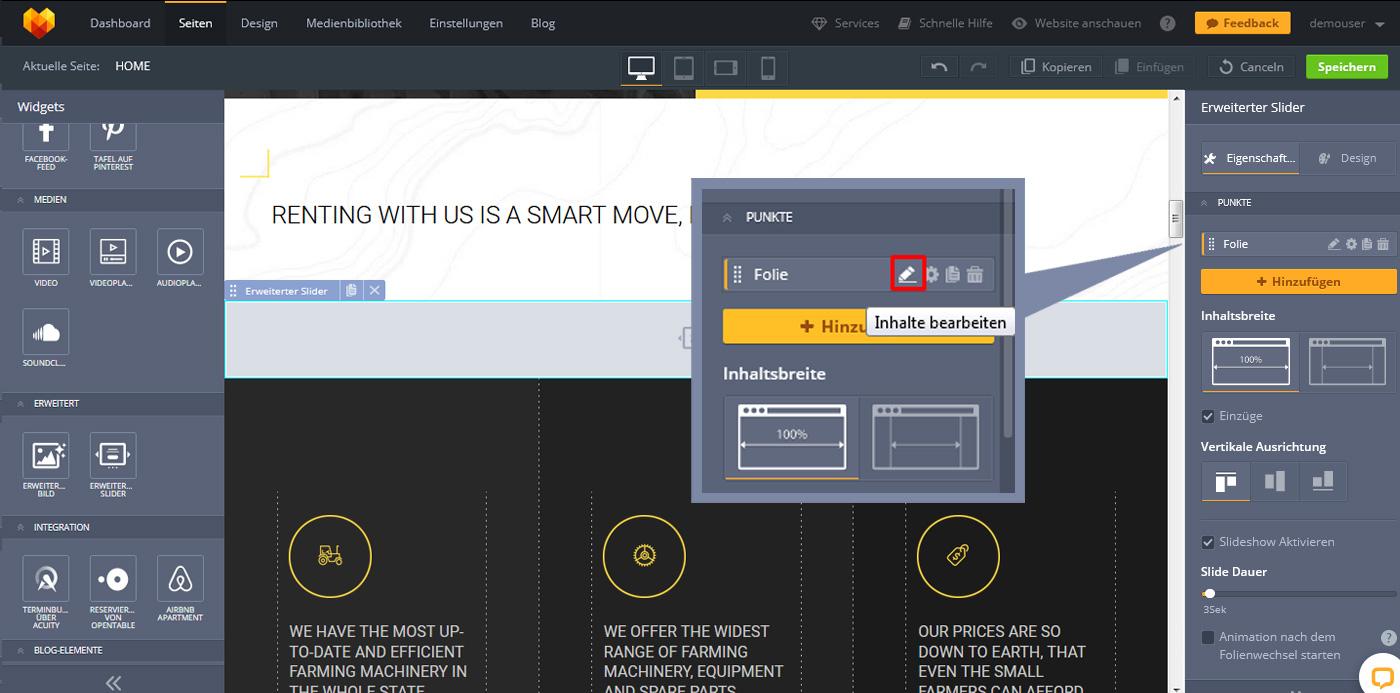 website widgets advanced slider folie bearbeiten