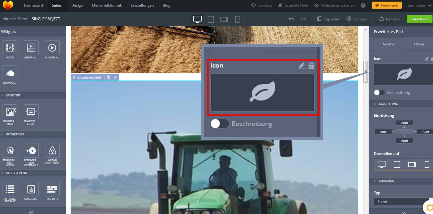 website widgets advanced bild icon einrichten