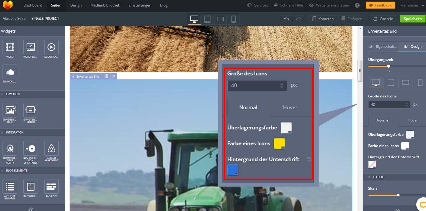 website widgets advanced bild gestaltung