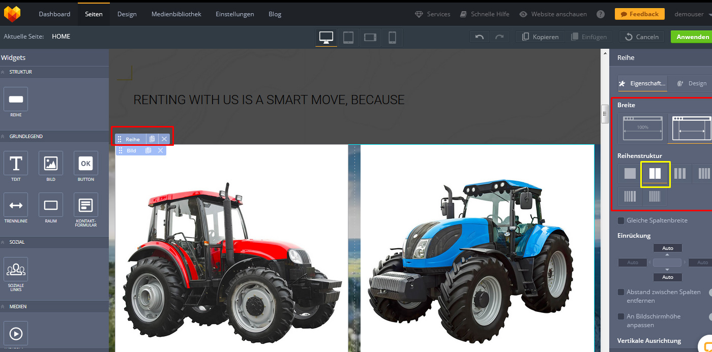 website widgets advanced slider optionen