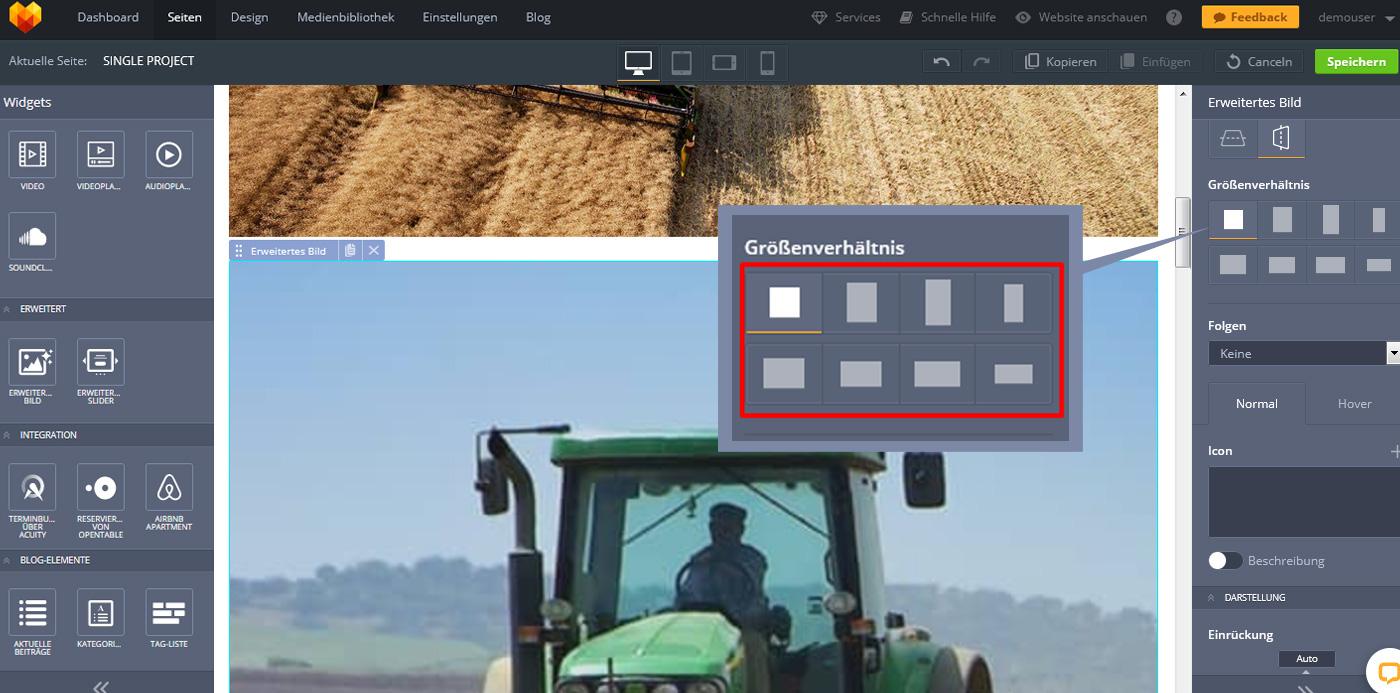 Website Widgets erweitertes bild aspect ratio