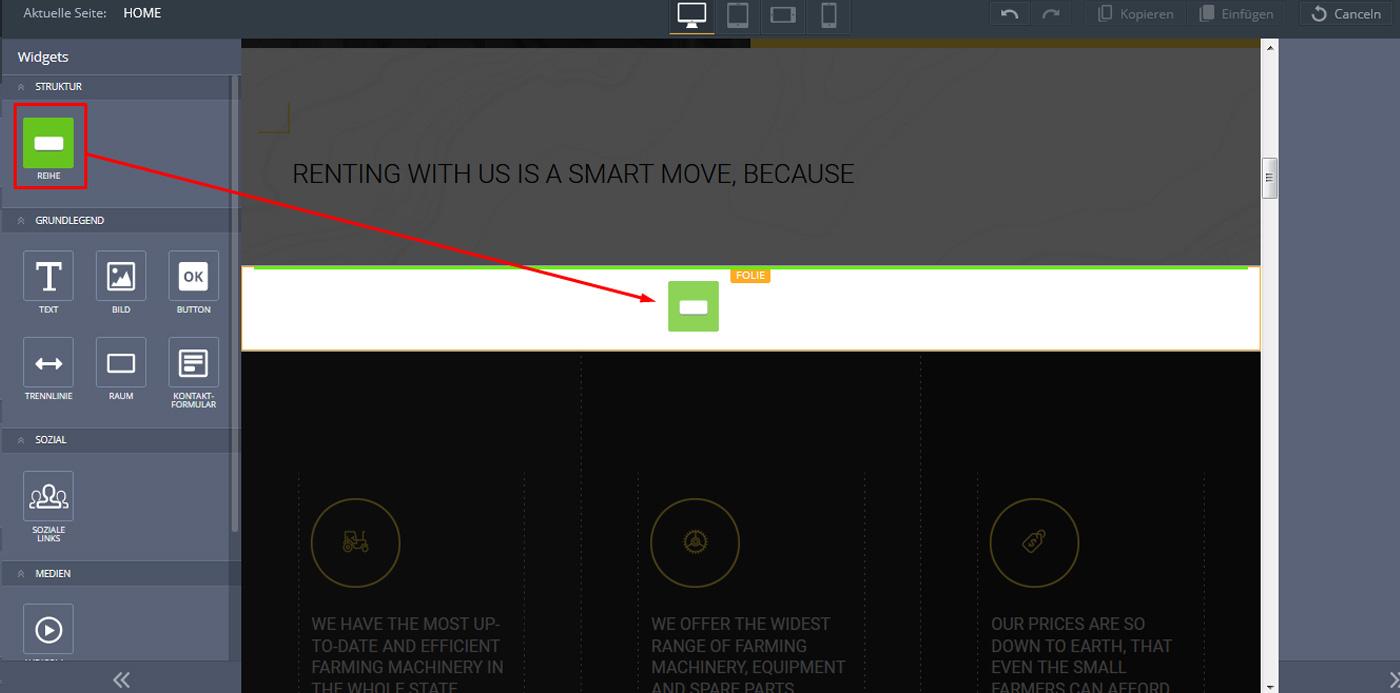 website widgets advanced slider einstellen