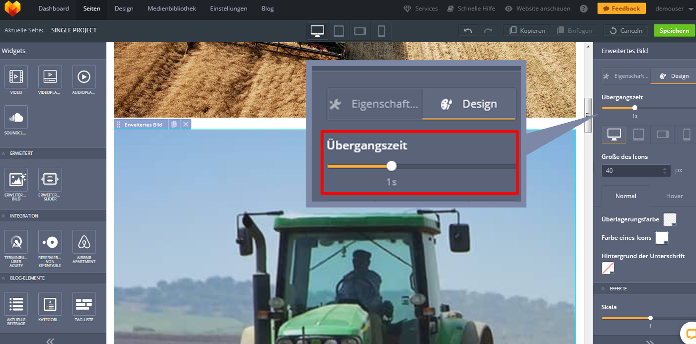 website widgets advanced bild design tools